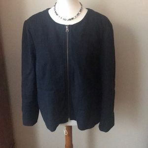 LOFT blazer with front zipper, navy